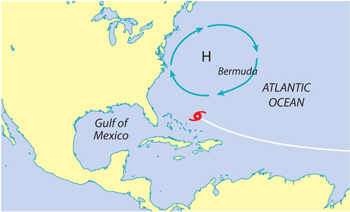 Map of the United States and the Atlantic Ocean. A small blue circle of arrows is over Bermuda, east of the U.S. A hurricane is approacthing to the southeast of the U.S. in the Atlantic Ocean.