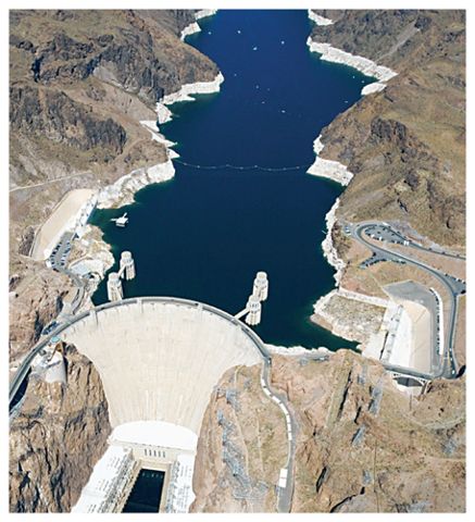Aerial view of the Hoover Dam on the Colorado River