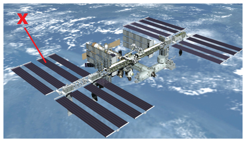 Artist's rendition of the completed International Space Station with an X indicating one of the solar panels