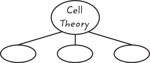 Example of a graphic organizer with a large oval labeled Cell Theory and three blank oval branching off below it.
