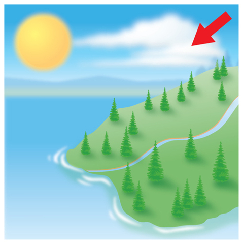 Illustration of a picture showing a portion of land, trees, a body of water, clouds, and Sun. An arrow is pointing at the clouds.