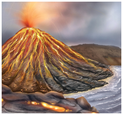 Illustration of an erupting volcano with lava flowing down the sides