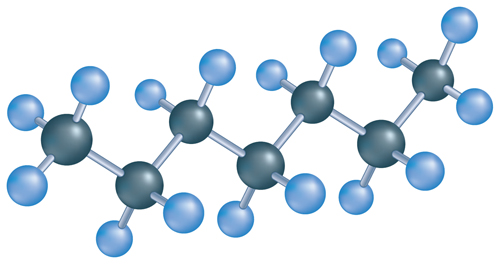 Picture showing the molecular structure of a compound containing seven carbon atoms bonded with 16 hydrogen atoms
