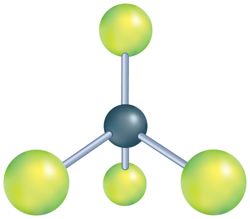 Diagram of a molecule in the shape of a pyramid